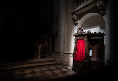 Confession (Andrew Gibson.) Tags: croatia got sonya7ii sonyilce7m2 stones ancientcity castle castleslanding city dubrovnik fort gameofthrones hill monastery oldcity port wall dubrovnikcathedral red lightsplash shadows church gothic confessional cabinet confessionbox