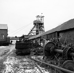 Big Pit on a snowy day (Hammerhead27) Tags: heritage britain mono monochrome coal pit bw blackandwhite industrial olympus view cold snow tower rust junk relic historic museum old mine colliery valley wales bigpit