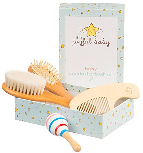 Wooden Baby Brush Set: 4-Pack Set of Natural Goat Hair Bristles Brush + Wooden Bristles Brush + Comb + Wooden Toy