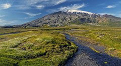 Snæfellsjökull panorama (Wim van de Meerendonk, loving nature) Tags: snæfellsjökull iceland mountains flowers stream vulcan vulcano blue bright color colors colours colour contrast clouds cloud flower green glacier hill hills icefield ice landscape mountain mountainscape monumental nature outdoors outdoor panorama rock rocks sony sky sun scenic snow valley wimvandem water golddragon astoundingimage