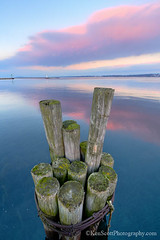 Lake Michigan ... sunset pilings (Ken Scott) Tags: sunsetreflected lookingeast pilings grandtraversebay westbay leelanau michigan usa 2019 january winter 45thparallel hdr kenscott kenscottphotography kenscottphotographycom freshwater greatlakes lakemichigan