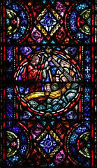 """""""Courage! It is I! Do Not Be Afraid!"""" (Lawrence OP) Tags: detroit mostholyredeemer stainedglass window jesuschrist apostles storm courage"""