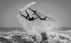 Windsurfer (reinaroundtheglobe) Tags: windsurfing windsurfer actionsports netherlands wijkaanzee ocean action extremesports blackandwhite bnw monochrome 1person jump sea reinaroundtheglobe reiniersnijders