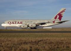 "A7-APD, Airbus A380-861, c/n 160, Qatar Airways, ""الصخامة (Al-Sakhama)"", CDG/LFPG 2018-12-26, taxiway Bravo-Loop. (alaindurandpatrick) Tags: qr qtr qatari qatarairways airlines a7apd cn160 a380 a388 a380800 megabus airliners jetliners cdg lfpg parisroissycdg airports aviationphotography"