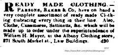 1833 Ready made clothing - albany clothing store  371  south market  Law Building - Parson's Baker and Co. (albany group archive) Tags: 1830s william mayer old albany ny vintage photograph photo picture historical history historic