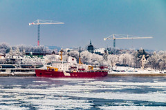 CCGS Pierre Radisson (langdon10) Tags: canada coastguard harbour helicopter quebec stlawrenceriver troisrivieres water city cold frost frozen ice icebreaker ship shoreline snow winter