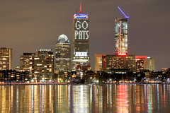 Go Pats (MRD Images) Tags: boston ma massachusetts night reflection charlesriver river ice snow winter cold windy buildings gopats superbowl newengland newhampshire prudentialtower prudentialbuilding sky dark darkness canon eos 5d markiii lights nightphotography photography skyline skyscraper cambridge superbowlsunday
