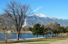 Another of Our Lovely City Parks (Patricia Henschen) Tags: urban tree trees beach lake mountain mountains frontrange pikespeak steam park prospectlake memorialpark city coloradosprings colorado pathscaminhos paths trails snow winter