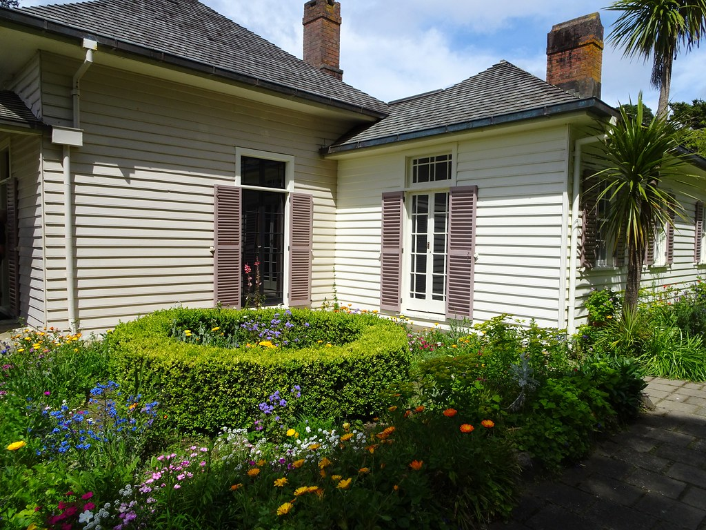 Waitangi. Garden corner of the Waitangi Treaty House. The house was built in 1833 for James Busby the resident administrator.