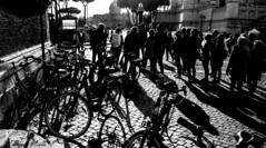 Luci ed ombre. (Pablos55) Tags: controluce gente ombre bicicletta attesa backlight people shadows bycicle waiting