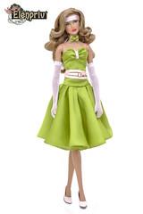 Beautiful pistachio silk dress (elenpriv) Tags: jemandtheholograms fashion doll jem outfit dress handmade clothes dollclothes elenpriv elena peredreeva collection integrity toys