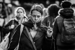 Bellowing smoke (Frank Fullard) Tags: frankfullard fullard dragon smoke bellowing candid street portrait cigarette smoker cork irish ireland monochrome black white blanc noir face expression
