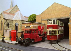 Kennington Tram Depot (kingsway john) Tags: london transport 176 scale oo gauge model diorama layout tramway tram k6 telephone kiosk war memorial kingsway models