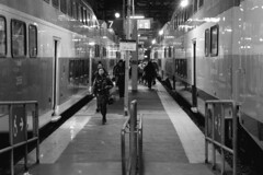 137 -1vibbwfwlcon1stpffwl (citatus) Tags: passengers disembarked go train union station toronto canada fall evening 2018 pentax k3 ii bw commuters commuter