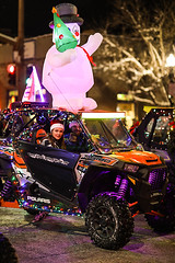UTVs (wyojones) Tags: wyoming cody christmasparade sheridanavenue snow cold sidebyside sxs offroadvehicle utv rov lights christmasseason parade man driver tailights woman passenger point santahat wyojones