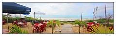 red plastic chairs (harrypwt) Tags: harrypwt gabon coastal green plants africa afrika centralafrica paintinglike panporamic panorama samsungs7 s7 smartphone people sea ocean sand