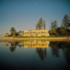 From where you'd rather be (sonofwalrus) Tags: holga film lomo lomography scan fromwhereyoudratherbe beach water sea ocean surfclub rainbowbay coolangatta queensland australia trees reflection moon rainbowbaysurflifesavingclub rbslsc slsc