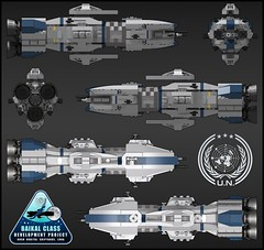 UNN Baikal Class Heavy Destroyer - Orthographic (Rphilo004) Tags: lego biakal class heavy destroyer unn expanse spaceship spacecraft space ship