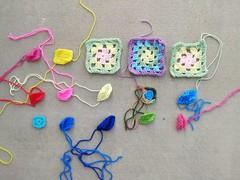 Fifteen crochet remnants in need of rehab (crochetbug13) Tags: crochet crocheted crocheting crochetremnants crochetsquares grannysquares crochetblanket crochetafghan