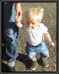 Tiny Toddler (M E For Bees (Was Margaret Edge The Bee Girl)) Tags: baby toddler walking blond boy hands sun canon trousers jeans denim outdoors dummy boots
