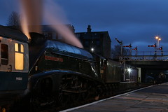 Building Up Steam (Derbyshire Harrier) Tags: eastlancashirerailway bury 2018 dusk winter december steamengine preservedline lancashire lnera4class462no60009unionofsouthafrica unionofsouthafrica 60009 longexposure semaphoresignals bluehour railwaystation steam smoke brblue streak