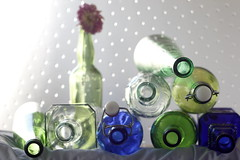 Anatomy of a bottle (Snorkle-suz) Tags: smileonsaturday bottleneck blue green glass bottles circles shallowdof newzealand aotearoa nz indoors insidemyhouse stilllife tabletop canoneos600d dof canoneosrebelt3i canoneoskissx5 helios44mf258mmlens helios helios44m helios44mlens