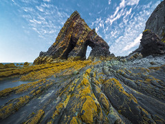Standing strong (Wizard CG) Tags: rocks sea water rock formation tide sky landscape outdoor north devon blackchurch ocean sunset nd longexposure beach summer mouthmill cove epl7 seascape seaview grass mountain river bay