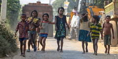 The Gang: Looking for the next challenge… (ybiberman) Tags: varanasi india utterpradesh children girls boys people streetphotography candid walking barefoot fun joy happiness smiles