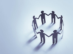 team work paper (nithiyabhaskar) Tags: teamwork people community paper concept group team business partnership collaboration chain holding together friendship circle support work unity human hands togetherness help social symbol union cooperation background blue thailand