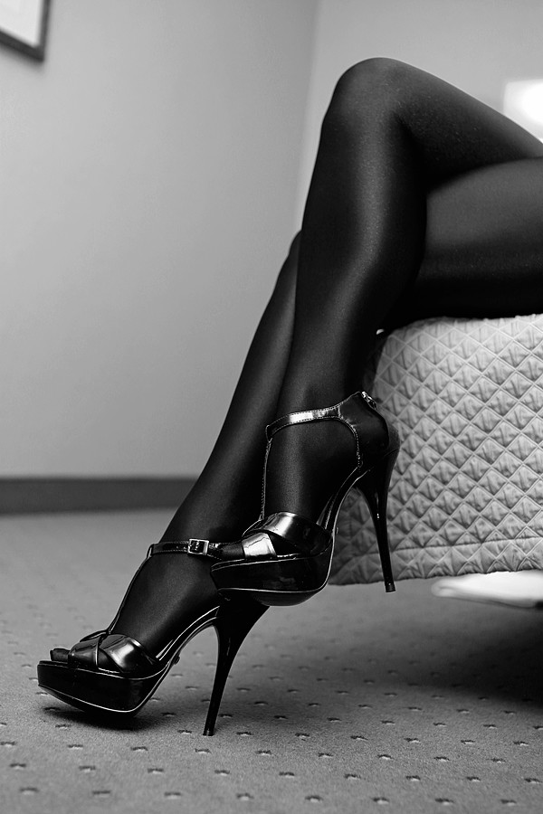 Nylon feet domination