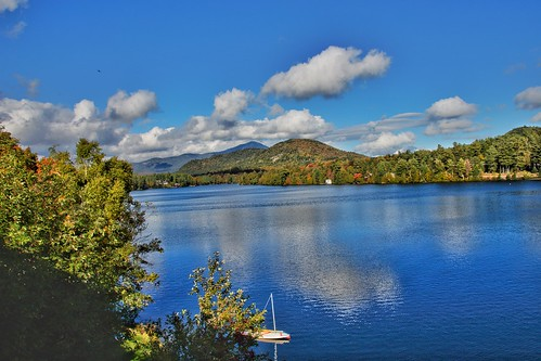 Lake  Placid  - New York - Sail Boat  - Red Blue and White