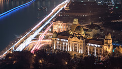 Rush Hour at Gellert Hill (BenedekM) Tags: budapest hungary nikon nikond3200 d3200 nikkor50mmf18g 50mmf18g hill capital city architecture buildings night nightscape cityscape lights longexposure danube river cars roads street oldtown old citytrees