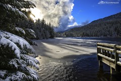 Merry Christmas (Matt Straite Photography) Tags: winter sun sunburst trees snow lake frozen dock pier landscape oregon hood