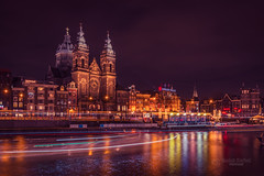 Basilica of St. Nicholas (tbnate) Tags: netherlands thenetherlands holland amsterdam basilica saintnicholas stnicholas basiliekvandeheiligenicolaas tbnate nikond750 nikon d750 tamron tamron1530 ultrawideangle ultrawide city cityscape water reflection evening dark darkness lights river canal church longexposure boat boats architecture bynight darksky clouds radekkorbal korbal outdoor outside