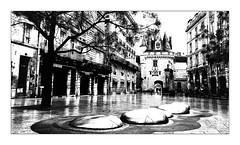La Porte Cailhau B&W (Jean-Louis DUMAS) Tags: hdr raining pluie art urbain place ville architecture bordeaux bw black blackandwhite blackwhitephotos blackwhite noretblanc noiretblanc nb noirblanc monochrome monument castle town reflets reflexion reflection