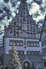 Bad Waldsee town hall at Christmas (markbangert) Tags: waldsee town hall advent calendar doors tree ir infrared infrarot fuji xt1