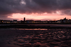 Crimson sky (Johans tilted tripod) Tags: sky sunset red crimson burning landscape seascape donaghadee northernireland beach sand patterns pattern cloud horizon