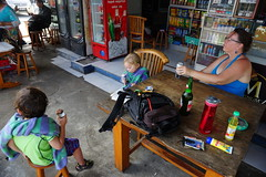 Kate, daddy, and the twins enjoy ice cream and beer after a big swim in Pedang Bay (dionhinchcliffe) Tags: moblog iphonepics