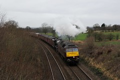 WCR RCT 1Z64 'The Winter Cumbrian Mountain Express' Manchester to Carlisle with Brush Type 4 No. 47772 'Carnforth TMD' leading LMS 6P No. 45690 'Leander' ascend Houghton bank Lancashire approx 45' minutes late. © (steamdriver12) Tags: wcr west coast railway company rtc touring 1z64 the winter cumbrian mountain express manchester carlisle brush type 4 no 47772 leading lms 6p 45690 leander ascend houghton bank lancashire 45 minutes late smoke steam heritage preservation coal oil england landscape