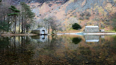 Boathouse & Pumping Station (mandysp8) Tags: reflection mirror boathouse pumpingstation wast water lowwood spring trees stones pebbles thelakedistrict cumbria england uk canon 750d eos tranquil wasdale