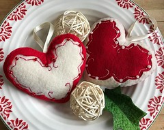 Hand Embroidered and Beaded Red and White Heart Ornaments (TheFriendlyCo.) Tags: ornament hanging decoration decor love wedding shower gift baby felt ecofriendly handmade etsy valentine sweet beaded red white