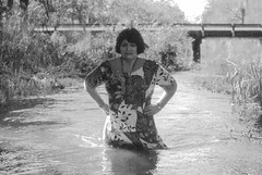 Never to get Wet, IV (clarkfred33) Tags: water wade creek jumpercreek wetadventure wet wetfun wetlook vintage vintagephoto wetwoman dress wetdress ttd trashthedress swimwear stream scenicstream classy classydress 2003