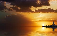 Red sunset (José Luis Pérez Navarro) Tags: sunset atardecer amanecer evening sunrise sky cielo clouds nubes orange naranja silhouettes siluetas contraluz backlighting water reflections airelibre seascape landscape beautiful faro lighthouse sea mar ocean oceano joseluisperez blacky2007 sun sol nikon vip redmatrix