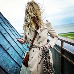 Windy Trench (betrenchcoated) Tags: trenchcoat trench raincoat regenmantel windy woman wind beautifulgirl blowing buttons doublebreasted hair flapping flying