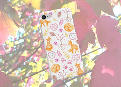 Woodland Foxes Phone Case (FriendlyHollow) Tags: iphonecase samsunggalaxycover handmade handdrawn coloredpencil fox foxes woodlandart cuteanimals foxlovergift autumn fall pretty natureinspired