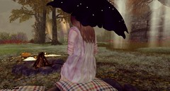 Just Another One. (Seraphina Juliesse) Tags: luas rainbows skybeams campfire umbrella brolly brunette girl picnic grass trees dark notch cushion log pink meadow lovelyalien truth flowers