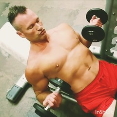 incline curls (ddman_70) Tags: shirtless pecs abs muscle gym workout biceps
