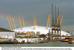 Millennium dome rainbow 2 (hoffman) Tags: boat canoe car city crane docklands dome horizontal house housing milenium milennium millenium millennium rainbow river riverside thames warehouse water weather building construction greenwich outdoors pylons o2 architecture architectural davidhoffman wwwhoffmanphotoscom london uk