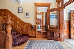 New York Upper West Side brownstone interior foyer built 1911 (techpro12) Tags: partition victorian interior woodwork ornate vintage rowhouse stairway stairs stairwell banister wainscoting waincot paneled walls