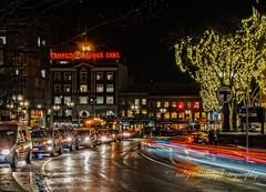 Night Lights (mgstanton) Tags: lighttrails cambridge night harvardsquare nightphotography light traffic cambridgesavingsbank thet headlights taillights street city urban